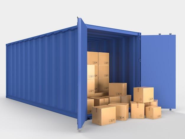 Container-frachtversand logistik-service-container mit braunen pappkartons paketliefertransport im online-e-commerce-geschäft.