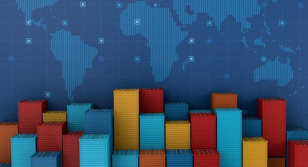 Containerfrachtschiff im importexportgeschäft logistisch auf digitaler weltkarte