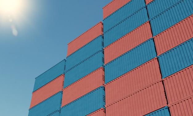 Containerladung am dock unter sonnenlicht