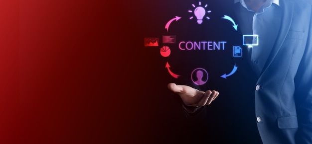 Content-marketing-zyklus - erstellen, veröffentlichen, verteilen von inhalten für eine bestimmte zielgruppe online und analyse.