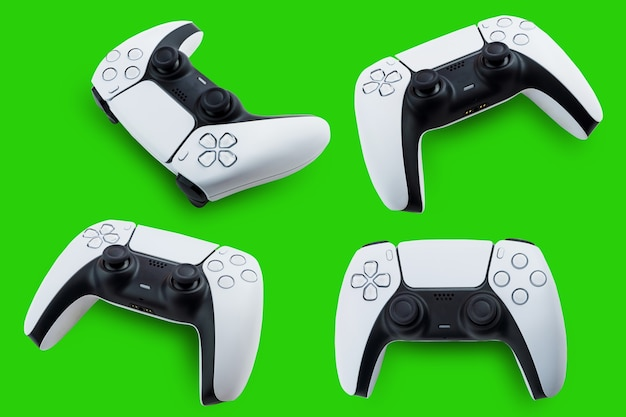 Controller der nächsten generation in 4 verschiedenen positionen auf grünem hintergrund. chroma-key.