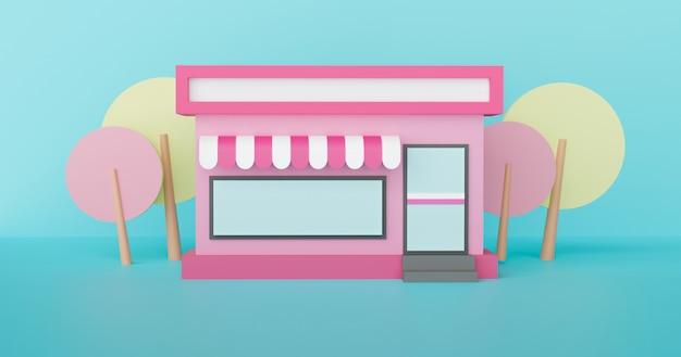 Convenience-stores haben nachts rund um die uhr geöffnet. 3d-rendering.