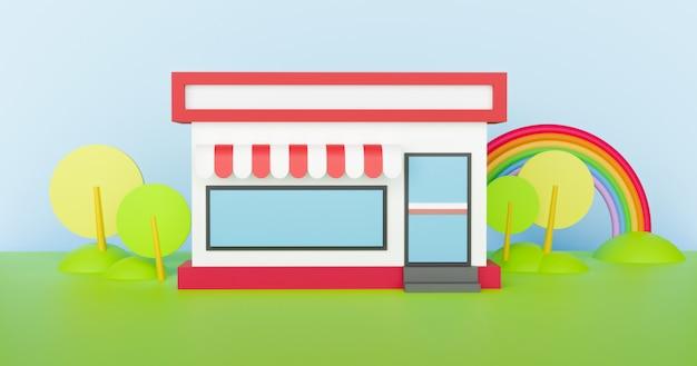 Convenience-stores haben nachts rund um die uhr geöffnet. 3d-rendering. Premium Fotos