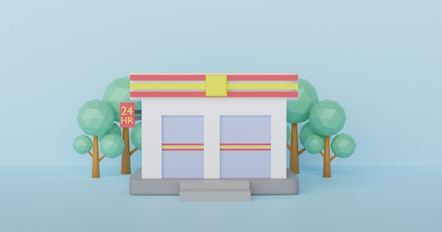 Convenience-stores sind rund um die uhr geöffnet. 3d-rendering.