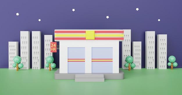 Convenience-stores sind rund um die uhr geöffnet. 3d-rendering. Premium Fotos