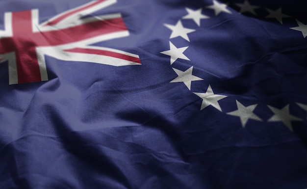 Cook islands flag zerknittertes nahes hohes