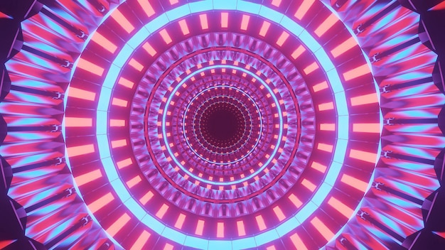 Cooler futuristischer hintergrund mit beleuchteten bunten kreisen