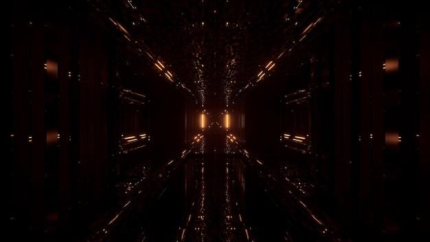 Cooler futuristischer hintergrund mit goldenen blinkenden lichtern