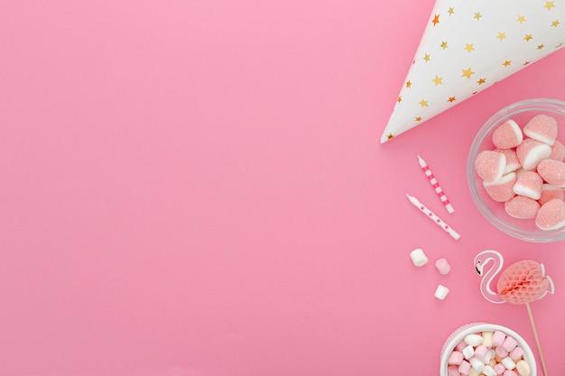 Copy-space geburtstag süßigkeiten vorbereitung