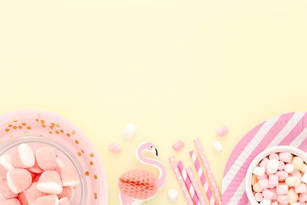 Copy-space geburtstagsfeier süßigkeiten
