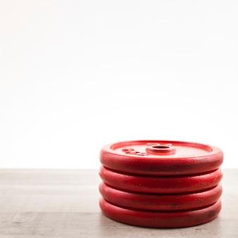 Copy-space-gewichte für das fitnesstraining