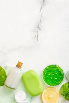 Copy-space natürliche seife und lotion
