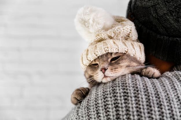 Copy-space süße katze wearinf pelzmütze im winter