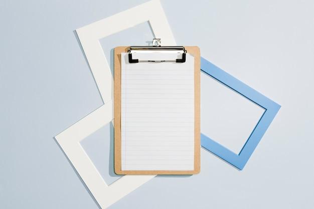 Copy space zwischenablage und leere frames flach zu legen