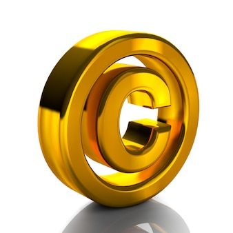 Copyright-symbole marke 3d gold farbe 3d-render isoliert auf weißem hintergrund