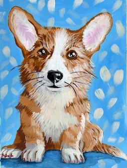 Corgi dog realistischer kleiner ingwerwelpe auf blauem hintergrund haustier mit kurzen beinen und zweifarbigem fell