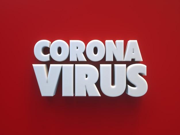 Coronavirus 3d-text über einem roten