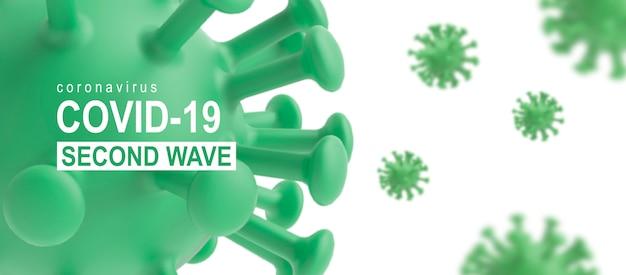 Coronavirus covid-19 horizontale banner der zweiten welle mit grünem virus auf weiß