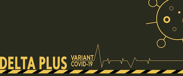 Coronavirus-delta plus variantenhintergrund. schwarzer hintergrund.