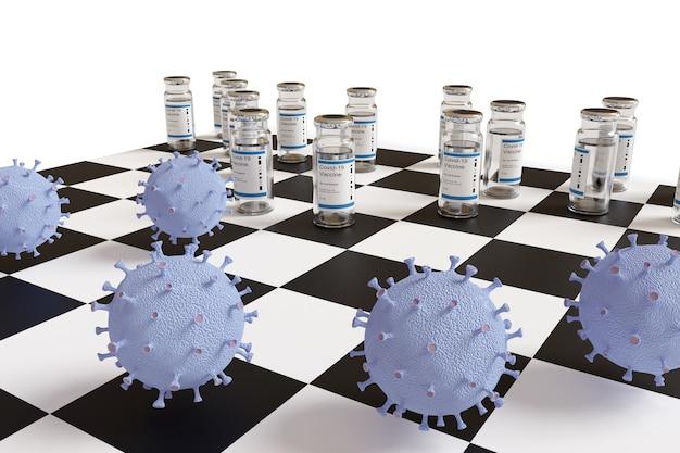 Coronavirus-impfstoffe in einem schachspiel.