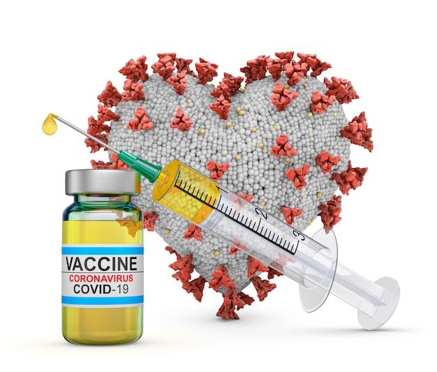 Coronavirus in form eines herzens neben einer spritze und einem impfstoff