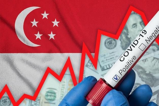 Coronavirus in singapur. positiver bluttest auf flaggenhintergrund. zunahme der inzidenz. wirtschaftskrise.
