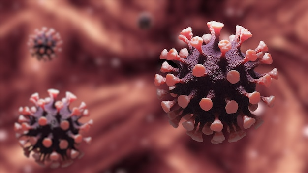 Coronavirus- oder covid-19-krankheitszellen infektion gefährlich auf dem mikroskop-look. violet orenge tone und violet orenge 3d rendern illustration