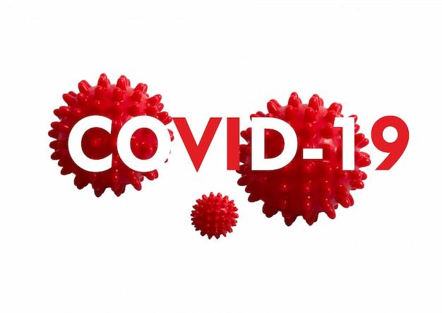 Coronavirus-text über weißem hintergrund