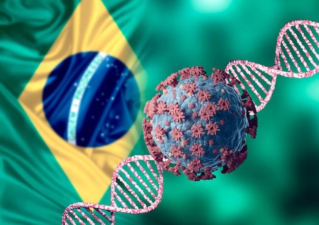 Coronavirus und dna, virusmutation und neuer stamm aus brasilien. brasilianische variante sars cov 2. mikroskopische ansicht. 3d-illustration