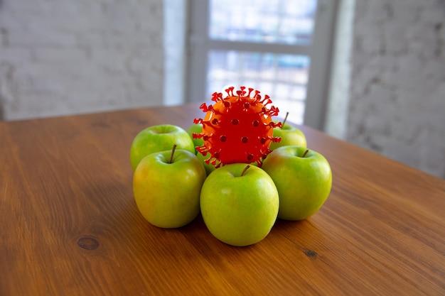 Coronavirus versteckt sich in üblichen dingen - überprüfen sie die reinigung und frische ihrer früchte und lebensmittel. einer aus der menge. äpfel, orangen, zitronen auf dem küchentisch. pandemie, epidemiekonzept, desinfektion.