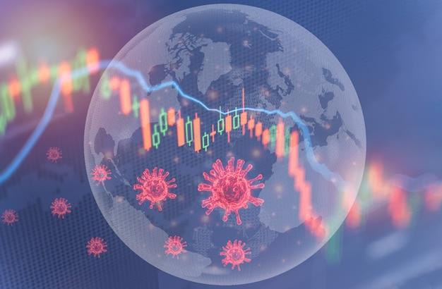 Coronavirus wirkt sich auf das finanzkrisenkonzept der aktienmärkte der weltwirtschaft aus