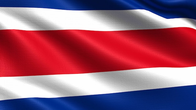 Costa rica-flagge, mit wellenartig bewegender gewebebeschaffenheit