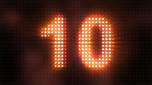 Countdown-lichter zähler flutlicht led-timer von 10 3d illustration