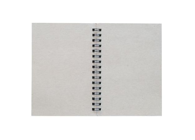 Cover des leeren grauen buches auf weißem hintergrund und beschneidungspfade.