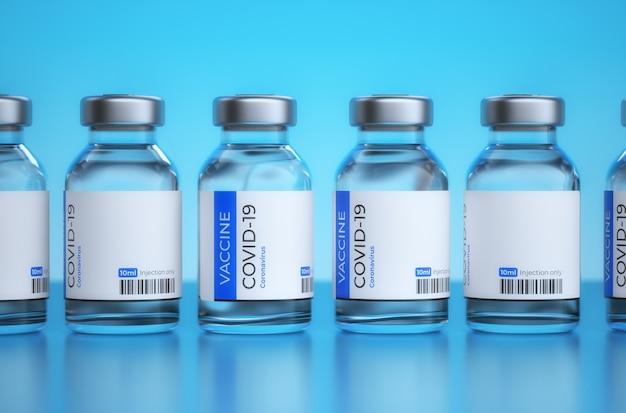 Covid-19-impfkonzept. covid19-impfstoffe in flaschen. spritze mit impfstoff gegen das coronovirus auf blauem hintergrund. medizinische ampulle mit covid-19-impfstoff. 3d-rendering.