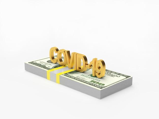 Covid-19-symbol auf einem bündel dollarnoten