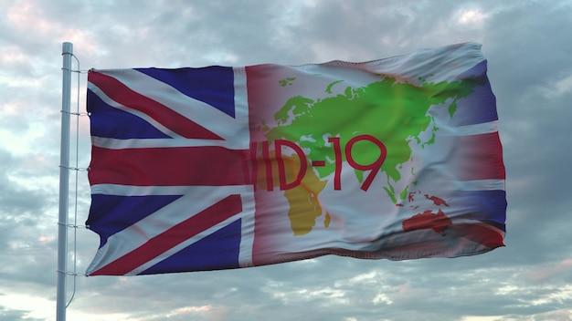 Covid-19-zeichen auf der nationalflagge des vereinigten königreichs. coronavirus-konzept. 3d-rendering.