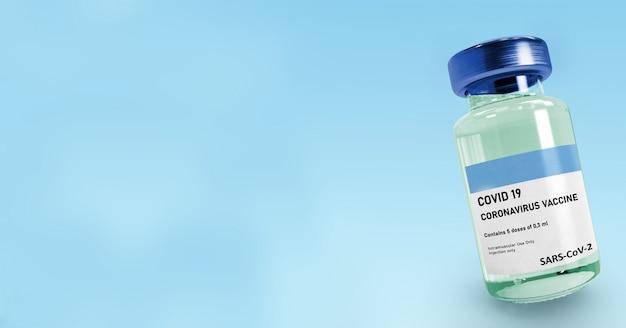 Covid-impfstoffflasche auf hellblauem hintergrund mit kopienraum, coronavirus-impfstoff, covid-19-impfstoff