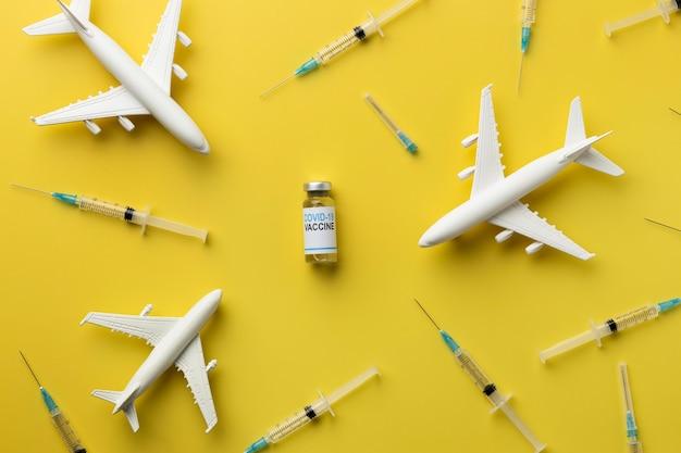 Covid-stillleben mit impfstoff