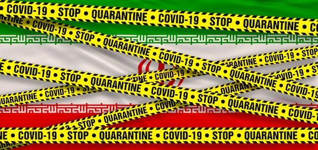 Covid19 coronavirus quarantänegebiet im iran. iranische flagge hintergrund. 3d-illustration