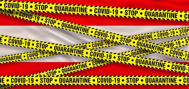 Covid19 coronavirus quarantänegebiet in österreich. österreichische flagge hintergrund. 3d-illustration