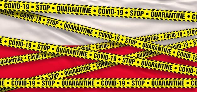 Covid19 coronavirus quarantänegebiet in polen. polnische flagge hintergrund. 3d-illustration