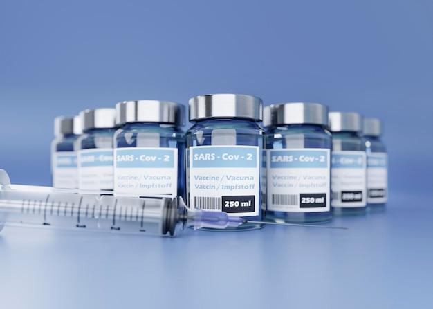 Covid19-impfstoffflaschen und spritze