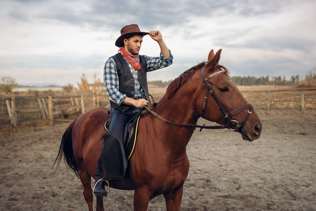 Cowboy, der ein pferd in texas land reitet