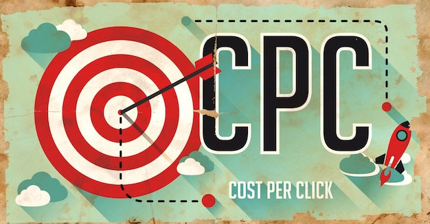 Cpc - kosten pro klick - konzept. plakat auf altem papier im flachen design mit langen schatten.