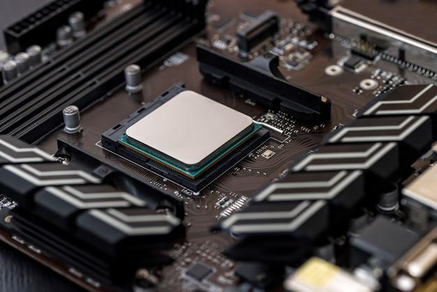 Cpu der personal computer draufsicht am motherboard