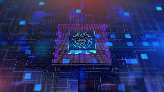 Cpu und brain over circuit board künstliche intelligenz ki-konzept