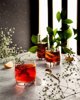Cranberry-saft campari mit minze und thymian spritzt wassertropfen