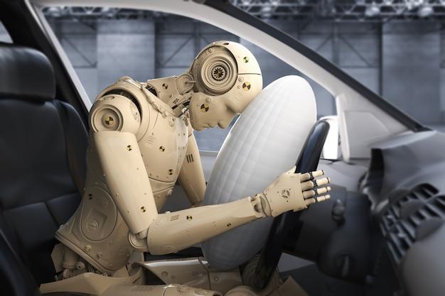 Crashtest mit 3d-rendering-dummy-hit mit airbag