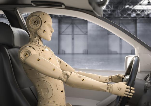 Crashtest mit 3d-rendering-dummy im auto